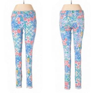 Topshop Moto Leigh Floral Hawaiian Skinny Jeans